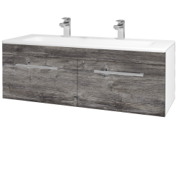 Dreja - Kúpeľňová skriňa ASTON SZZ2 120 - N01 Bílá lesk / Úchytka T03 / D10 Borovice Jackson (146856CU)