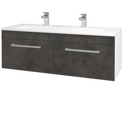 Dreja - Kúpeľňová skriňa ASTON SZZ2 120 - N01 Bílá lesk / Úchytka T03 / D16 Beton tmavý (200268CU)