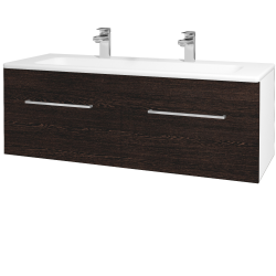 Dreja - Kúpeľňová skriňa ASTON SZZ2 120 - N01 Bílá lesk / Úchytka T04 / D08 Wenge (131227EU)