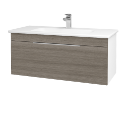Dreja - Kúpeľňová skriňa ASTON SZZ 100 - N01 Bílá lesk / Úchytka T05 / D03 Cafe (131043F)