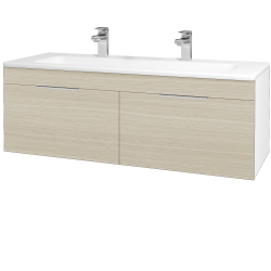 Dreja - Kúpeľňová skriňa ASTON SZZ2 120 - N01 Bílá lesk / Úchytka T05 / D04 Dub (131197FU)
