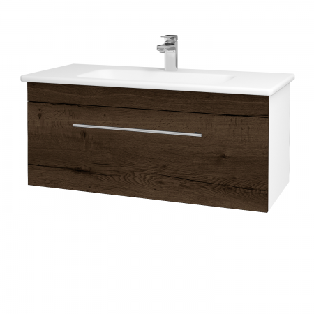 Dreja - Kúpeľňová skriňa ASTON SZZ 100 - N01 Bílá lesk / Úchytka T02 / D21 Tobacco (276775B)