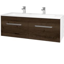 Dreja - Kúpeľňová skriňa ASTON SZZ2 120 - N01 Bílá lesk / Úchytka T01 / D21 Tobacco (276850AU)