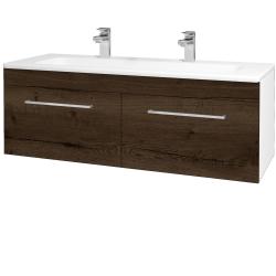 Dreja - Kúpeľňová skriňa ASTON SZZ2 120 - N01 Bílá lesk / Úchytka T04 / D21 Tobacco (276850EU)