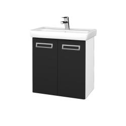 Dreja - Kúpeľňová skriňa DOOR SZD2 60 - N01 Bílá lesk / Úchytka T39 / L03 Antracit vysoký lesk (122881G)