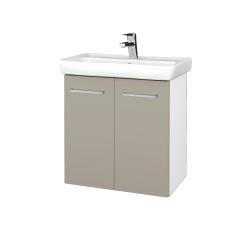 Dreja - Kúpeľňová skriňa DOOR SZD2 60 - N01 Bílá lesk / Úchytka T04 / L04 Béžová vysoký lesk (122898E)