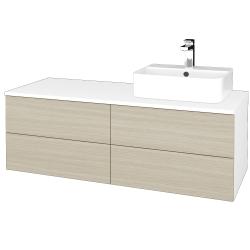 Dreja - Kúpeľňová skrinka MODULE SZZ4 120 - N01 Bílá lesk / D04 Dub / Levé (301866)