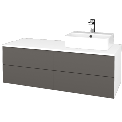 Dreja - Kúpeľňová skrinka MODULE SZZ4 120 - N01 Bílá lesk / N06 Lava / Levé (302016)