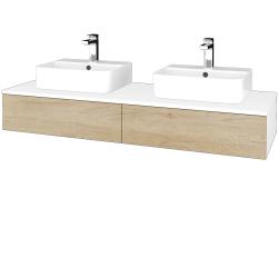 Dreja - Kúpeľňová skrinka MODULE SZZ2 140 - N01 Bílá lesk / D15 Nebraska (302863)