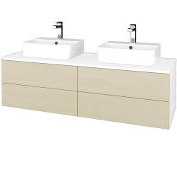 Dreja - Kúpeľňová skrinka MODULE SZZ4 140 - N01 Bílá lesk / D02 Bříza (303716)