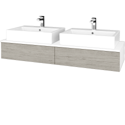 Dreja - Kúpeľňová skrinka MODULE SZZ2 140 - N01 Bílá lesk / D05 Oregon (316907)