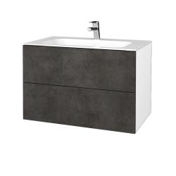 Dreja - Kúpeľňová skriňa VARIANTE SZZ2 80 - N01 Bílá lesk / D16 Beton tmavý (268817)