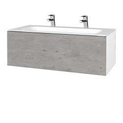 Dreja - Kúpeľňová skrinka VARIANTE SZZ 100 - N01 Bílá lesk / D01 Beton (269401U)