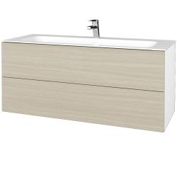 Dreja - Kúpeľňová skrinka VARIANTE SZZ2 120 - N01 Bílá lesk / D04 Dub (270629)