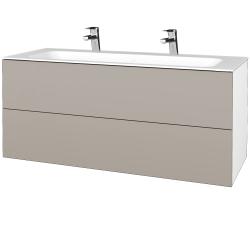Dreja - Kúpeľňová skrinka VARIANTE SZZ2 120 - N01 Bílá lesk / N07 Stone (270780U)