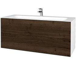 Dreja - Kúpeľňová skrinka VARIANTE SZZ2 120 - N01 Bílá lesk / D21 Tobacco (270841)