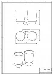 NOVASERVIS - Dvojitý držiak zubných kefiek a pasty sklo Metalia 1 chróm (6157,0), fotografie 4/2
