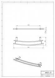 NOVASERVIS - Dvojitý držiak na vykurovací rebrík 600 mm Metalia 2 chróm (6225/1,0), fotografie 4/2