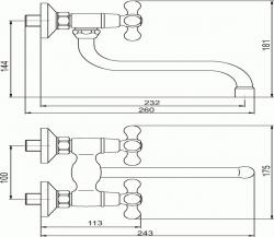 NOVASERVIS - Drezová umývadlová batéria 100 mm Retro II chróm (99174/T,0), fotografie 4/2