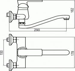 NOVASERVIS - Drezová umývadlová batéria 150 mm Techno chróm (95070,0), fotografie 4/2