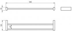 NOVASERVIS - Dvojitý držiak uterákov 575 mm Metalia 10 chróm (0025,0), fotografie 4/2