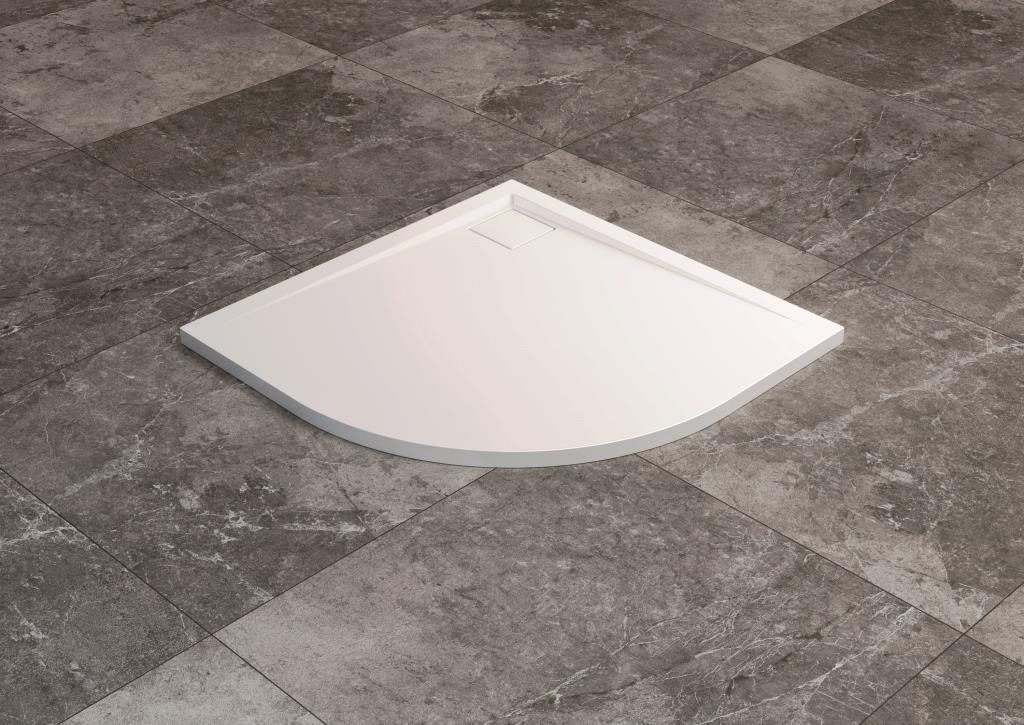 SanSwiss vanička LIVADA štvrťkruh biela 90x90x3,5 cm W20R5509004 W20R5509004