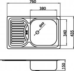 NOVASERVIS - Drez 43,5x76 s odkvapom a prepadom nerez (DR43/76), fotografie 4/2
