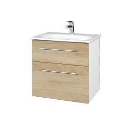 Dreja - Kúpeľňová skrinka PROJECT SZZ2 60 - N01 Bílá lesk / Úchytka T02 / D15 Nebraska (328481B)