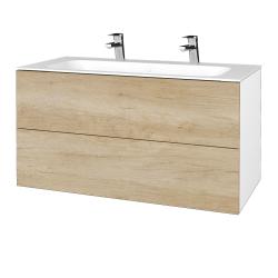 Dreja - Kúpeľňová skriňa VARIANTE SZZ2 100 - N01 Bílá lesk / D15 Nebraska (269746U)
