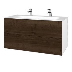 Dreja - Kúpeľňová skriňa VARIANTE SZZ2 100 - N01 Bílá lesk / D21 Tobacco (269913U)