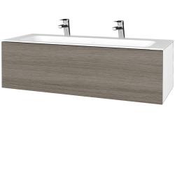 Dreja - Kúpeľňová skriňa VARIANTE SZZ 120 - N01 Bílá lesk / D03 Cafe (270148U)