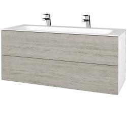 Dreja - Kúpeľňová skrinka VARIANTE SZZ2 120 - N01 Bílá lesk / D05 Oregon (270636U)