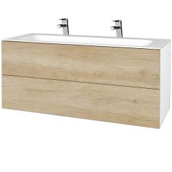Dreja - Kúpeľňová skrinka VARIANTE SZZ2 120 - N01 Bílá lesk / D15 Nebraska (270681U)