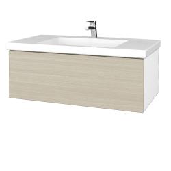 Dreja - Kúpeľňová skrinka VARIANTE SZZ 100 - N01 Bílá lesk / D04 Dub (274849)