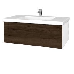 Dreja - Kúpeľňová skrinka VARIANTE SZZ 100 - N01 Bílá lesk / D21 Tobacco (275075)