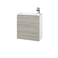 Dreja - Kúpeľňová skriňa VARIANTE SZD 50 - N01 Bílá lesk / D05 Oregon / Pravé (339302P)