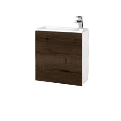 Dreja - Kúpeľňová skriňa VARIANTE SZD 50 - N01 Bílá lesk / D21 Tobacco / Pravé (339524P)