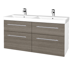 Dreja - Kúpeľňová skriňa Q MAX SZZ4 120 - N01 Bílá lesk / Úchytka T02 / D03 Cafe (332365B)