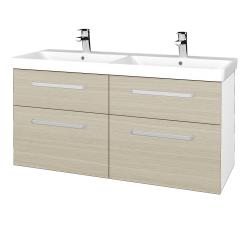 Dreja - Kúpeľňová skriňa Q MAX SZZ4 120 - N01 Bílá lesk / Úchytka T01 / D04 Dub (332372A)