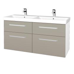 Dreja - Kúpeľňová skriňa Q MAX SZZ4 120 - N01 Bílá lesk / Úchytka T01 / L04 Béžová vysoký lesk (332501A)