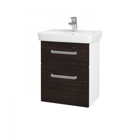 Dreja - Kúpeľňová skriňa GO SZZ2 50 - N01 Bílá lesk / Úchytka T01 / D08 Wenge (28032A)