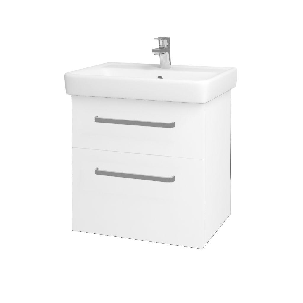 Dreja - Kúpeľňová skriňa Q MAX SZZ2 60 - N01 Bílá lesk / Úchytka T01 / L01 Bílá vysoký lesk 60117A