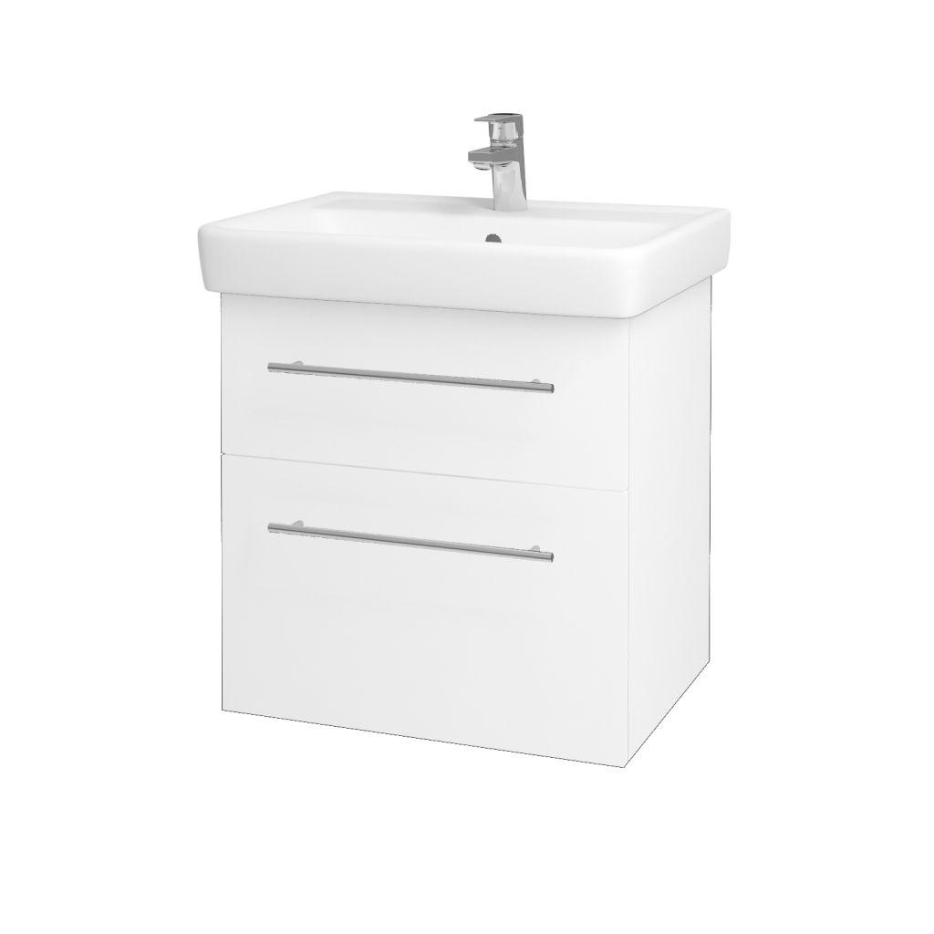 Dreja - Kúpeľňová skriňa Q MAX SZZ2 60 - N01 Bílá lesk / Úchytka T02 / L01 Bílá vysoký lesk 60117B
