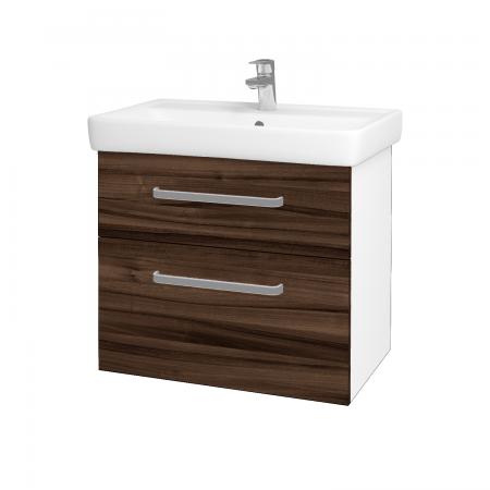 Dreja - Kúpeľňová skriňa Q MAX SZZ2 70 - N01 Bílá lesk / Úchytka T01 / D06 Ořech (60254A)
