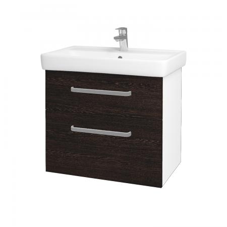 Dreja - Kúpeľňová skriňa Q MAX SZZ2 70 - N01 Bílá lesk / Úchytka T01 / D08 Wenge (60063A)