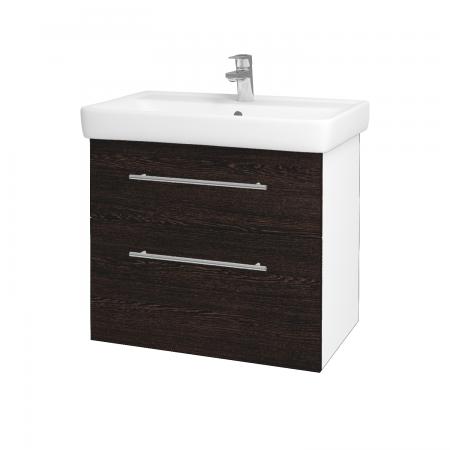 Dreja - Kúpeľňová skriňa Q MAX SZZ2 70 - N01 Bílá lesk / Úchytka T02 / D08 Wenge (60063B)