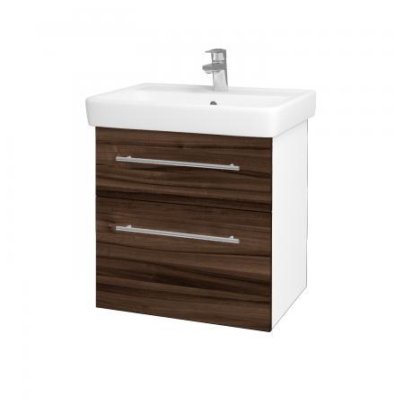 Dreja - Kúpeľňová skriňa Q MAX SZZ2 60 - N01 Bílá lesk / Úchytka T02 / D06 Ořech (60230B)
