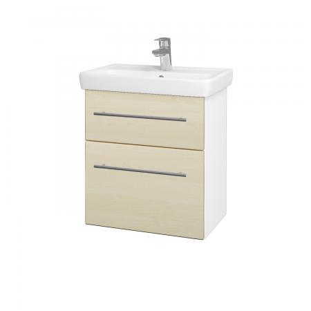 Dreja - Kúpeľňová skriňa GO SZZ2 55 - N01 Bílá lesk / Úchytka T02 / D02 Bříza (28018B)