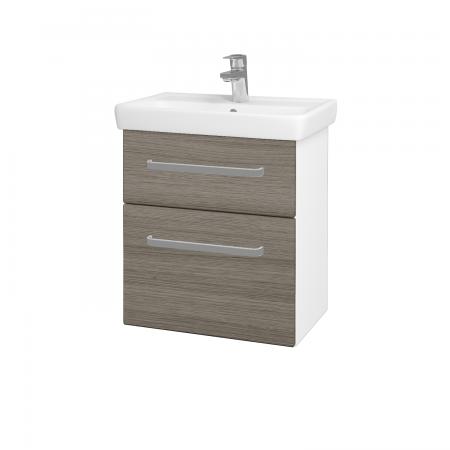 Dreja - Kúpeľňová skriňa GO SZZ2 55 - N01 Bílá lesk / Úchytka T01 / D03 Cafe (27929A)
