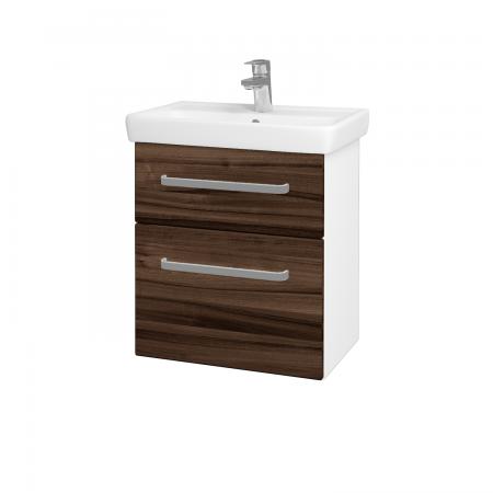 Dreja - Kúpeľňová skriňa GO SZZ2 55 - N01 Bílá lesk / Úchytka T01 / D06 Ořech (20715A)